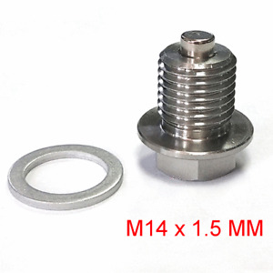 Stainless Steel Neodymium Magnetic Oil Drain Plug M14 x 1.5mm w/ Aluminum Washer