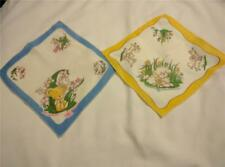 Vintage Printed Childs Handkerchiefs Hankies 2 Pc.  Motifs Mouse Ducks SO SWEET