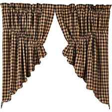 Black Check Scalloped Prairie Window Swag Set of 2 by VHC Brands