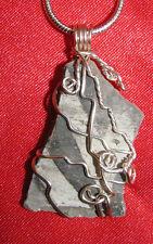 Anasazi shard sherd wire wrap sp snake chain necklace natural stone pendant E113