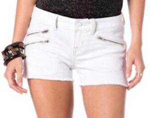 Miss Me MO5210H4 White Wash Multi-Zip Frayed Edge Stretch Denim Jeans Shorts