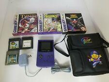 Nintendo Game Boy Color grape Purple Handheld System 6 Games Case Ac adapter L3