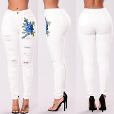Women's Floral Embroidered Denim Ripped Pants Stretch Jeans Slim Pencil Trousers