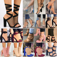 New Ladies High Heels Ankle Strap Sandals Party Thick Heels Pumps Shoes Size US