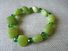Lovely shades of green stone and crystal style bead, handmade bracelet.