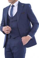 Men 3pc Vested Suit Turkey Wessi, J.Valintin Slim Fit 127-22 Birds Eye Navy Blue