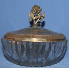 Antique Art Deco Cut Glass Bowl With Ornate Floral Silver Plated Lid