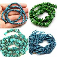 "Natural Genuine Turquoise Nugget Blue Brown Chips Loose Beads 15"" Jewelry Making"
