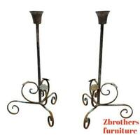 Pair Wrought Scrolled Iron Louis XV French Regency Candelabra Candle Stand A