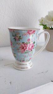 2 x Clayre & Eef Kaffeebecher Kaffeetasse Teetasse Teebecher  Blumen Porzellan ❤