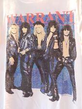 Vintage 1980s USA Warrant Glam Heavy Metal Rock White 2 Side Concert T Shirt Men
