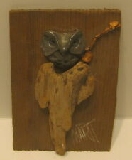 "Small Folk Art AMERICANA Pewter Owl on Driftwood Stump Plaque SIGNED ""MART""!!"