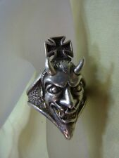 925er Silberring mit Teufelkopf Ringgroße 61,5 Ringkopf L 4 cm B 1,7 cm Ge 16,5g