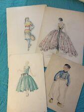 4 Vintage ORIGINAL FASHION Sketches COSTUME DESIGNS