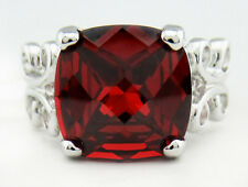 CHECKERBOARD RUBY 5.26 Cts RING .925 SILVER PLATED *** New with Tag