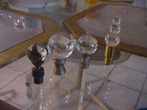 lot 4 Vintage Brass  Glass Globes Lamp Shade Tops Finials
