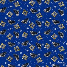 Polar Express Toss Navy Blue 100% cotton fabric by the yard