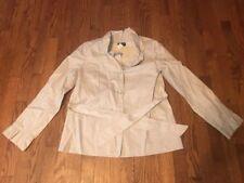 J Crew Beige 100% Cotton Ruffle Trim Button Closure Long Sleeve Jacket Size 4
