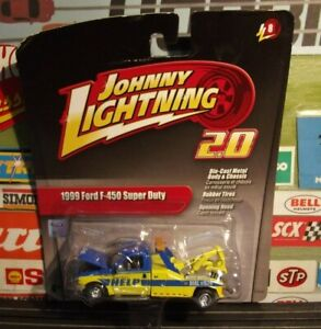 JOHNNY LIGHTNING 1:64 2.0 YELLOW / BLUE 1999 FORD F-450 SUPER DUTY TOW TRUCK JL8