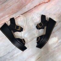 TOPSHOP Women's Size 5.5 Wolf Black Platform Sandals