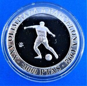 "OLYMPIC GAMES Spain 2000 pesetas 1990 (PROOF) ""1992 Olympics -Barcelona -Footbal"