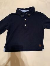 Boys JANIE & JACK LS Polo Shirt Navy 2T Pique 100% Cotton EUC