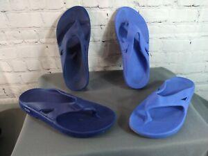 EUC lot of 2 unisex OOFOS / RECOVERY blue flip flops - Men's 7, Women's 9