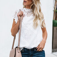 Fashion Womens Short Sleeve Cotton Lace Blouse T Shirt Ladies Summer Casual Tops