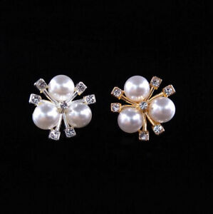 10pc Mixed Faux Pearls Rhinestones Flowers Buttons for Crafts Scrapbooking 20 mm