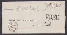 """Canada, 1872 O.H.M.S. Stampless Cover, """"FREE"""" handstamp to Quebec"""