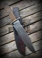 15'' CUSTOM HANDMADE D2 SAN MAI BLACK HUNTING BOWIE KNIFE WITH LEATHER SHEATH