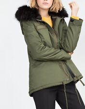 ZARA JACKE FELL FUTTER FAUX FUR LINED FUR HOODED PARKA COAT JACKET SIZE M 36 38
