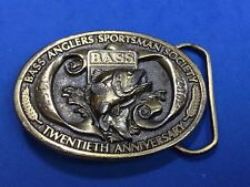 1967 to 1987 Bass Belt Buckle. 20th Anniversary. Bass Anglers Sportsman Society.