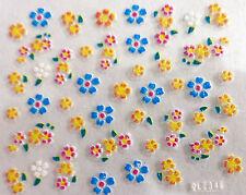 Accessoire ongles : nail art - Stickers autocollants - fleurs jaune, bleu rose