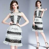 Womens fashion Slim Fit Cake Dress sleeveless lace hollow out layered Prom dress
