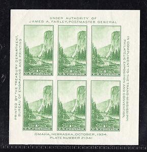 US # 751 (1934) 1c - MNGAI - XF - Yosemite Souvenir Sheet