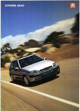 Citroen Saxo 2000-03 UK Market Sales Brochure VTR VTS Furio Desire Forte First