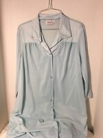 Vintage Vanity Fair Light Blue Robe Silky Nylon with Applique Size Small  USA
