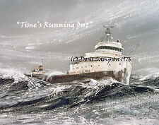 """Freighter EDMUND FITZGERALD, """"Time's Running Out"""" by Doris Sampson, 8x10 Giclee"""