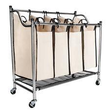 New Laundry Sorter 4 Section Basket Bar Hamper Bin Cart Rolling Washing Clothes