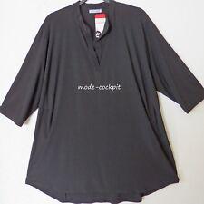 MAGNA coole Stretch Long-Bluse Tunika Stehkragen Lagenlook schwarz 52-54 (5)