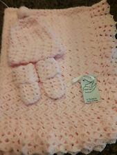 "Baby Pink Handmade Blanket Set  32"" X 37"" Brand New"