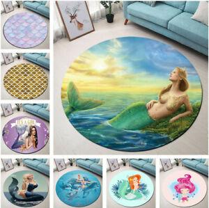 Beautiful Mermaid Fish Scale Bedroom Floor Mat Yoga Area Rugs Kids Play Carpet