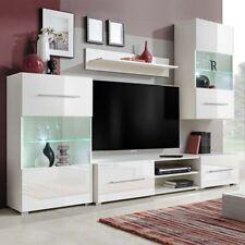 vidaXL Mueble de Pared 5 UDS Gabinete TV con Iluminación LED Color Blanco/Negro