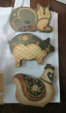 Wood Painted Chicken Pig Cat Wall Hangings Farmhouse Country Kitchen Rustic