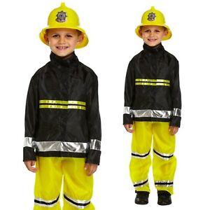 CHILDRENS KIDS FIREMAN FANCY DRESS COSTUME OUTFIT BOYS GIRLS FIRE FIGHTER SAM