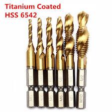 6pcs HSS 6542 Titanium Coated M3-M10 Combination Drill Tap Bit Set 1/4 Inch Hex