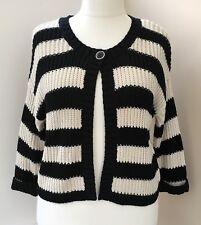 F&F Black Cream Striped Chunky Knit Cardigan Size 18  #K80