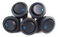 5 Pieces Blue LED Black Round Rocker Switch 12V On/Off Toggle SPST Switch