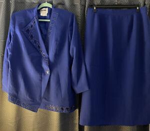 Women's 2 Pc Blue Skirt Suit 20W ML Studio Suit